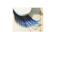 Wimpern blau/schwarz mit bunten Federn